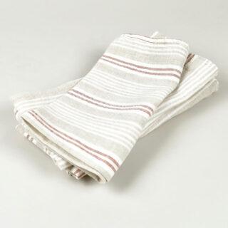Oatmeal Multi Stripe  100% Linen Napkins - handmade in Ludlow