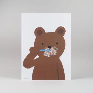 Brushing Bear Print