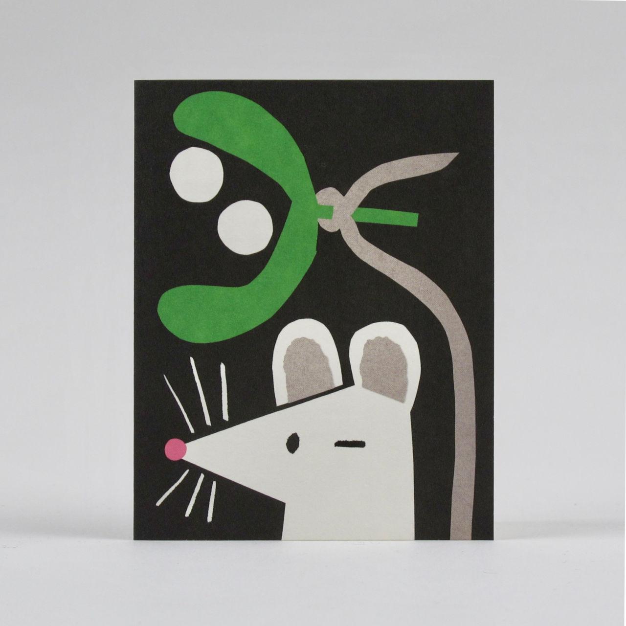 Mistletoe Mouse Card by Lisa Jones Studio