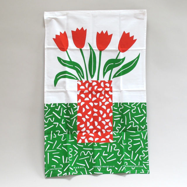 Tulips Tea Towel by Lisa Jones
