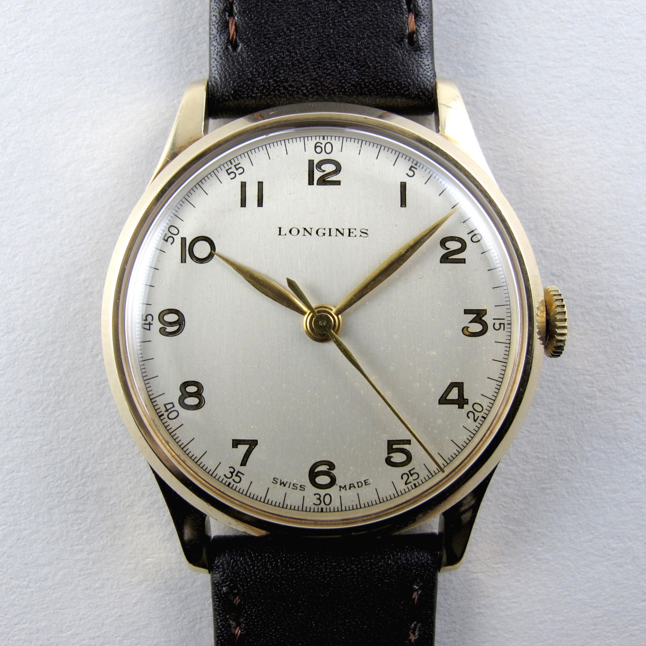 Longines gold vintage wristwatch, hallmarked 1952
