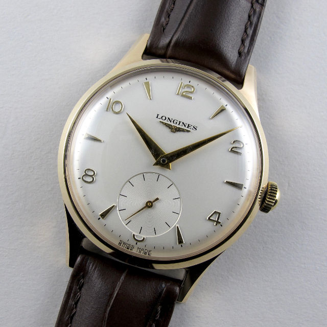 Longines gold vintage wristwatch, hallmarked 1959