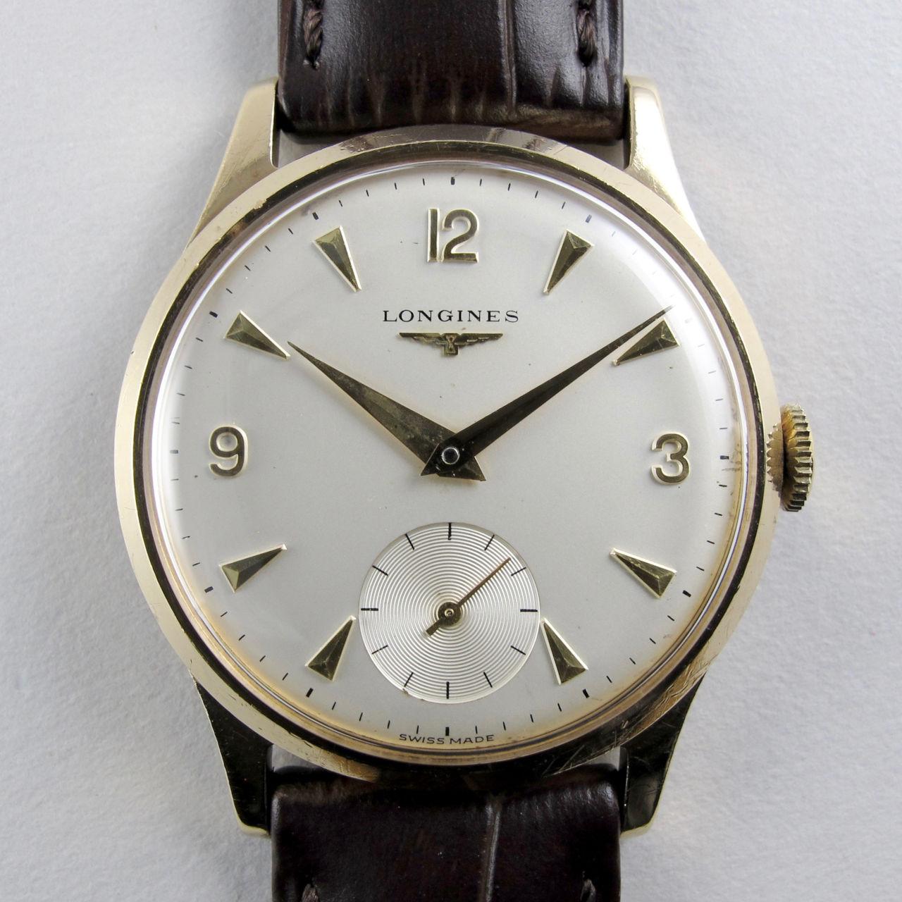 Longines gold vintage wristwatch, hallmarked 1965