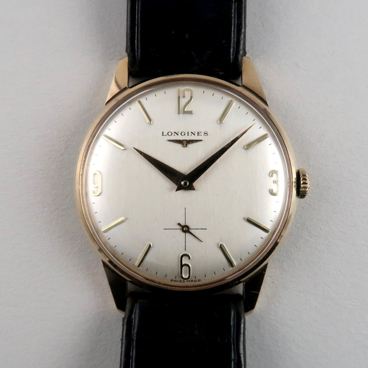 Longines gold vintage wristwatch, hallmarked 1965