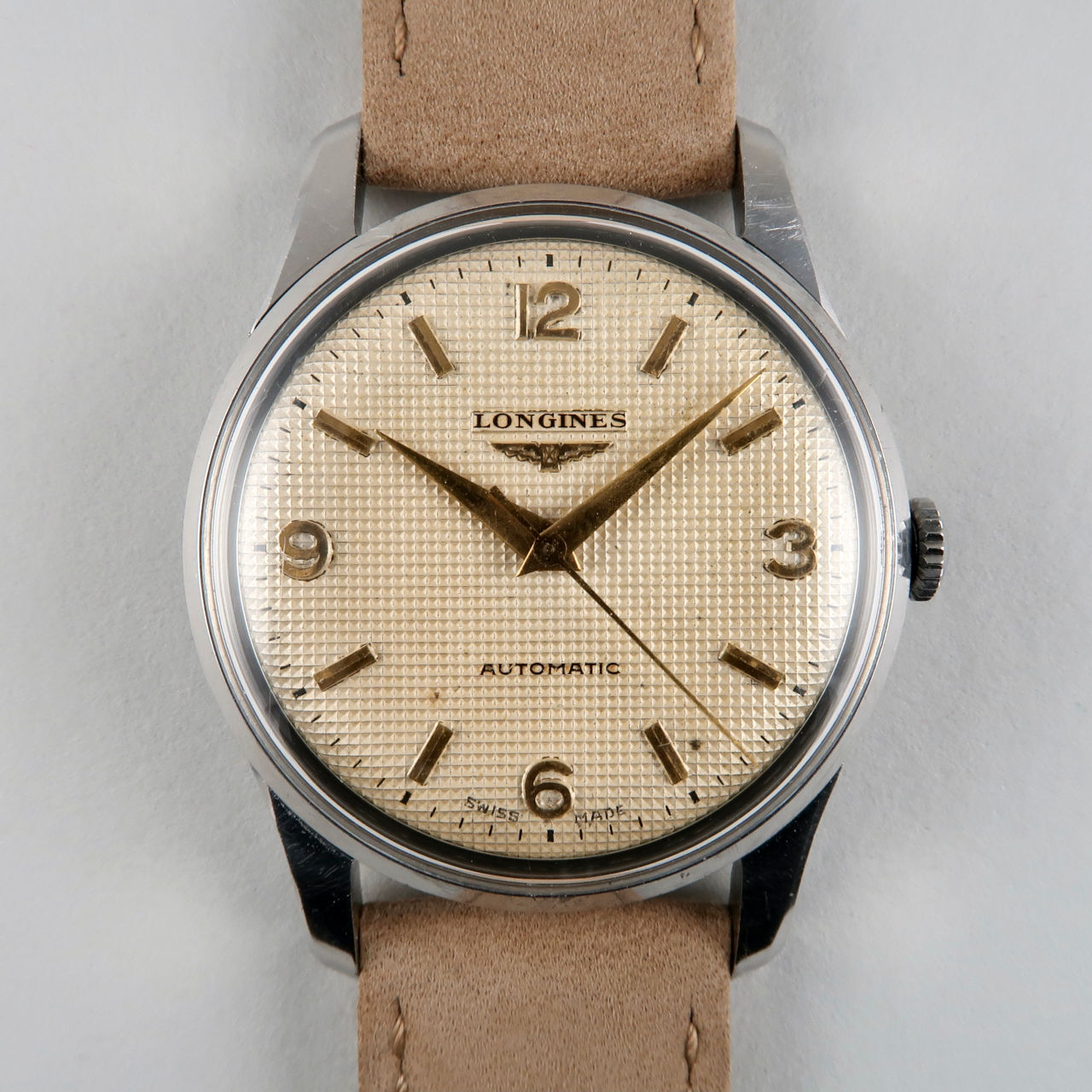 Longines Ref. 6379 invoiced 1955 honeycomb dial