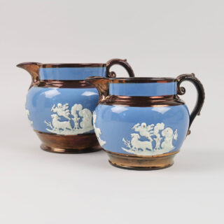 Copper Lustre and Blue Jugs