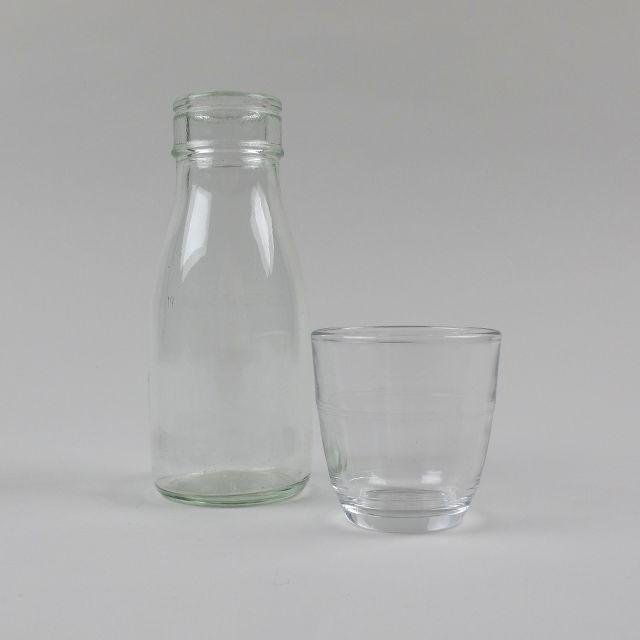 Bedside Carafe and Glass - vintage 1/3 pint bottle