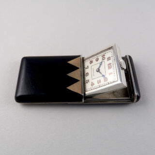 Moïse Dreyfuss silver, black lacquered and gold capped purse watch, hallmarked 1931