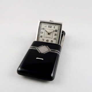 Moïse Dreyfuss sterling silver and black lacquered vintage purse watch, hallmarked 1931
