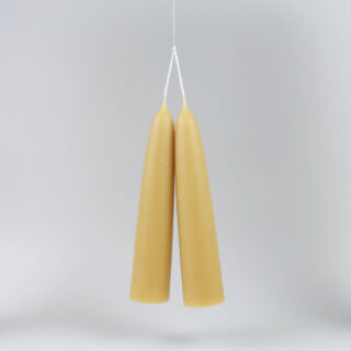 Pair of Giant Stubby Beeswax Candles