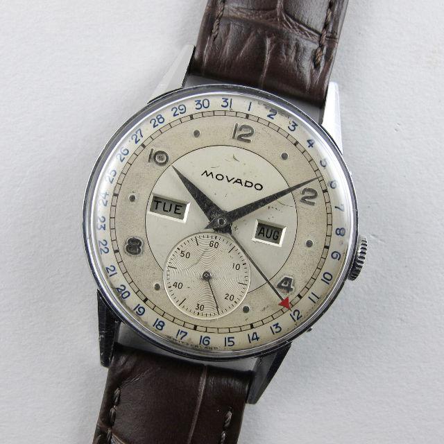 Movado Calendograf Ref. 14776 steel vintage calendar wristwatch, circa 1945