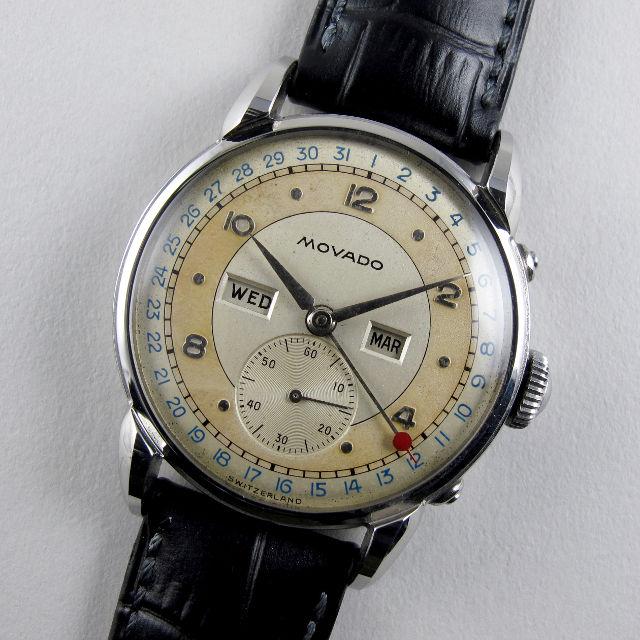 Movado Calendograf Ref. 14858 steel vintage wristwatch, circa 1950