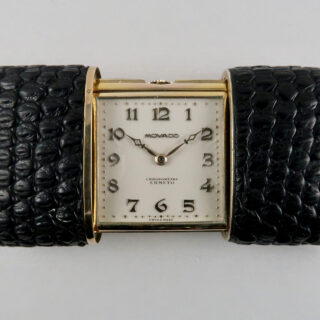 Movado Ermeto Chronomètre silver-gilt and leather, circa 1930