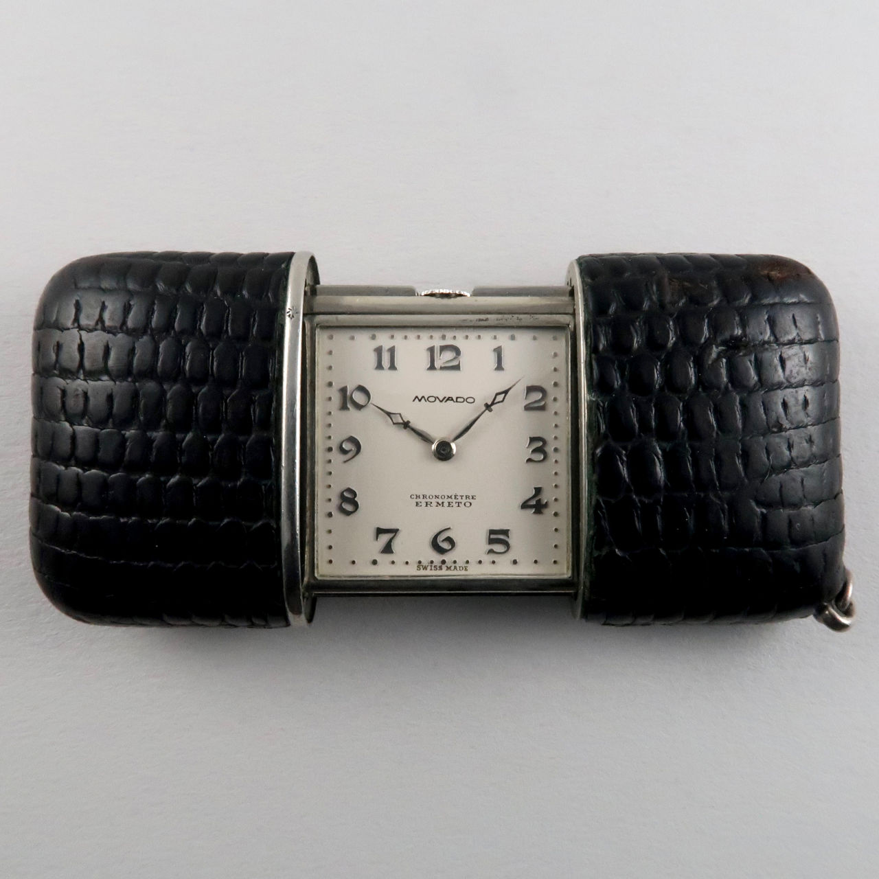 Movado Ermeto Chronomètre steel and leather purse watch, circa 1930