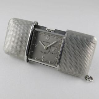 Steel & chrome Movado Ermeto Chronomètre vintage travelling watch, circa 1935