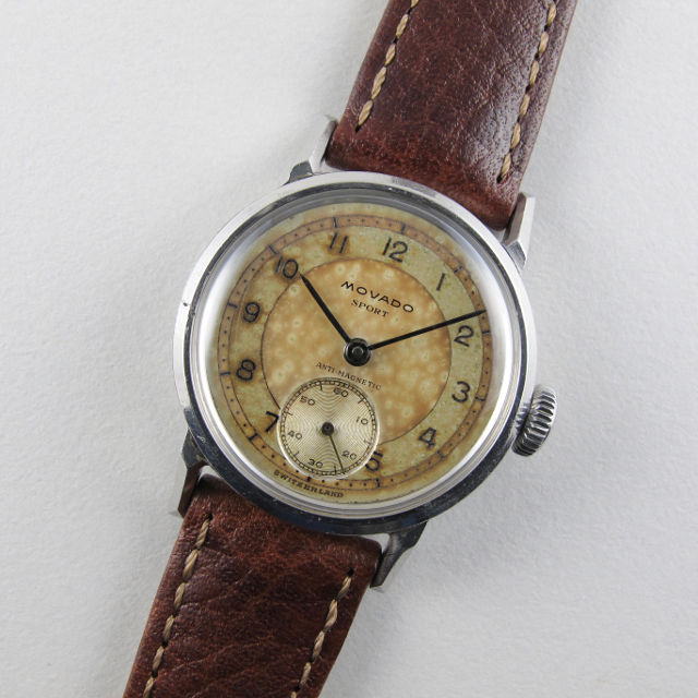 Movado Sport Ref. 11509 steel vintage wristwatch circa 1945 front view