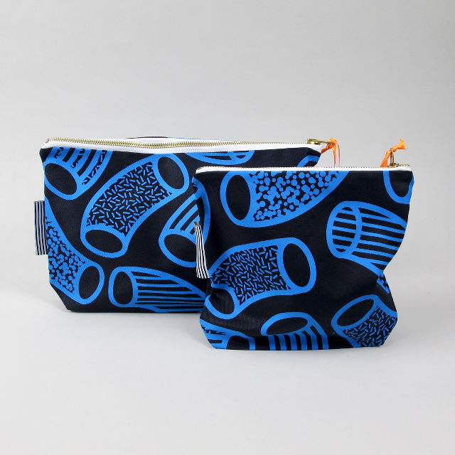 Zip pouches with screen printed blue tube graphic