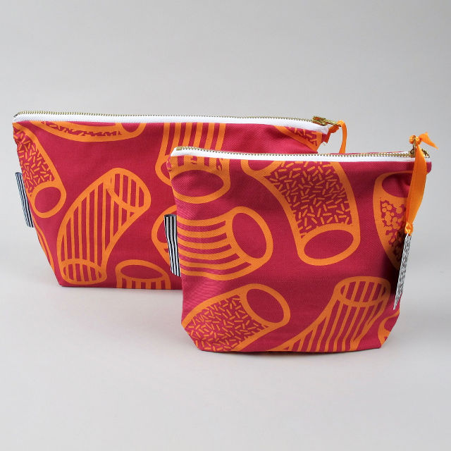 Zip pouches with screen printed orange tube graphic