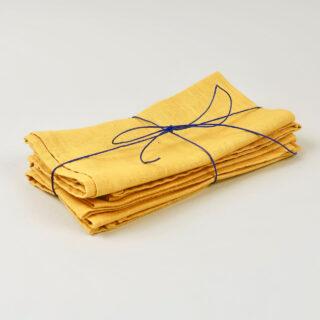 Mustard Yellow 100% Linen Napkin - handmade in Ludlow