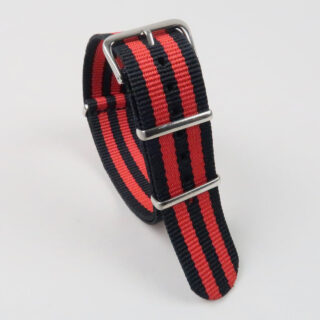 NATO two-colour striped nylon watch straps with polished buckle 18mm-22mm