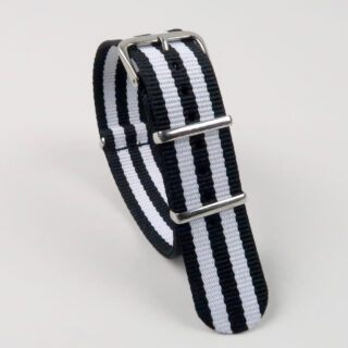NATO two-colour striped nylon watch straps with polished buckle