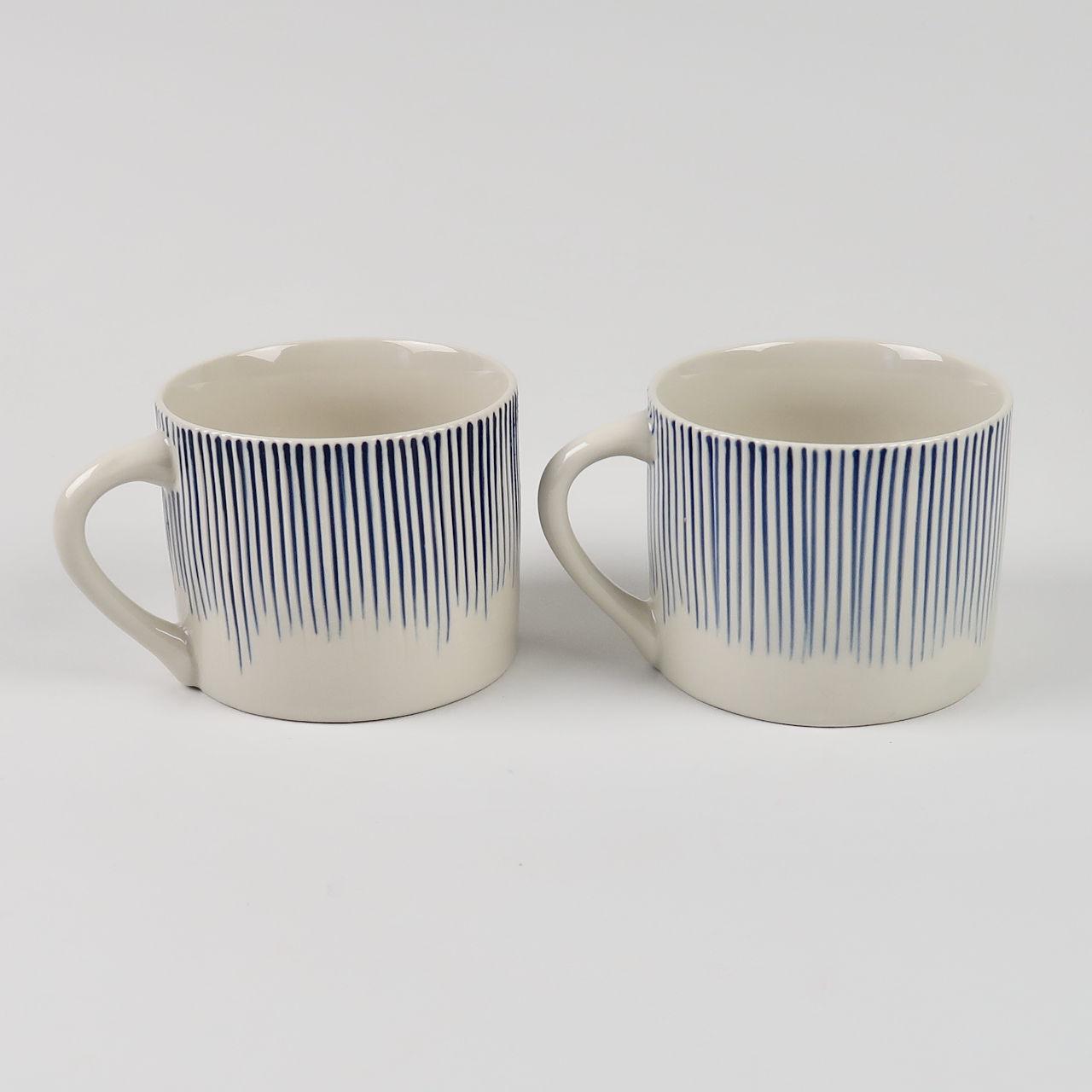 Pair of Short Karuma Mugs - Blue