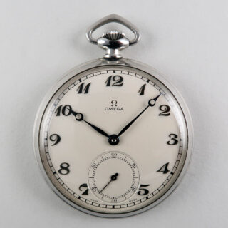 Omega cal.38.5L T1 circa 1938   steel hand wound vintage pocket watch