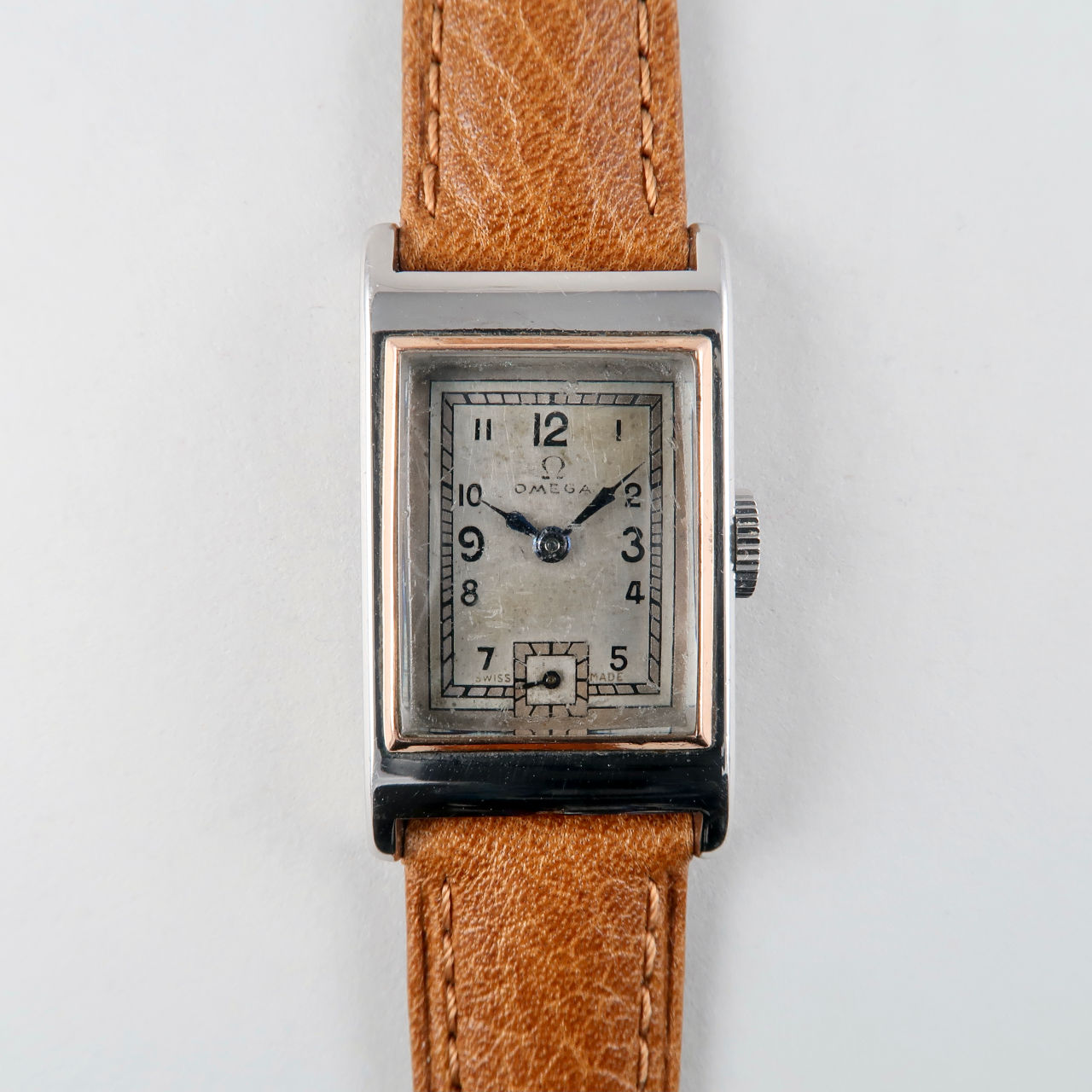 Omega Cal. T17 circa 1935 | steel and pink gold rectangular hand wound vintage wristwatch