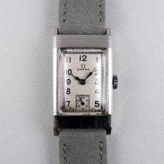 Omega Cal. T17 circa 1940   steel hand wound rectangular wristwatch