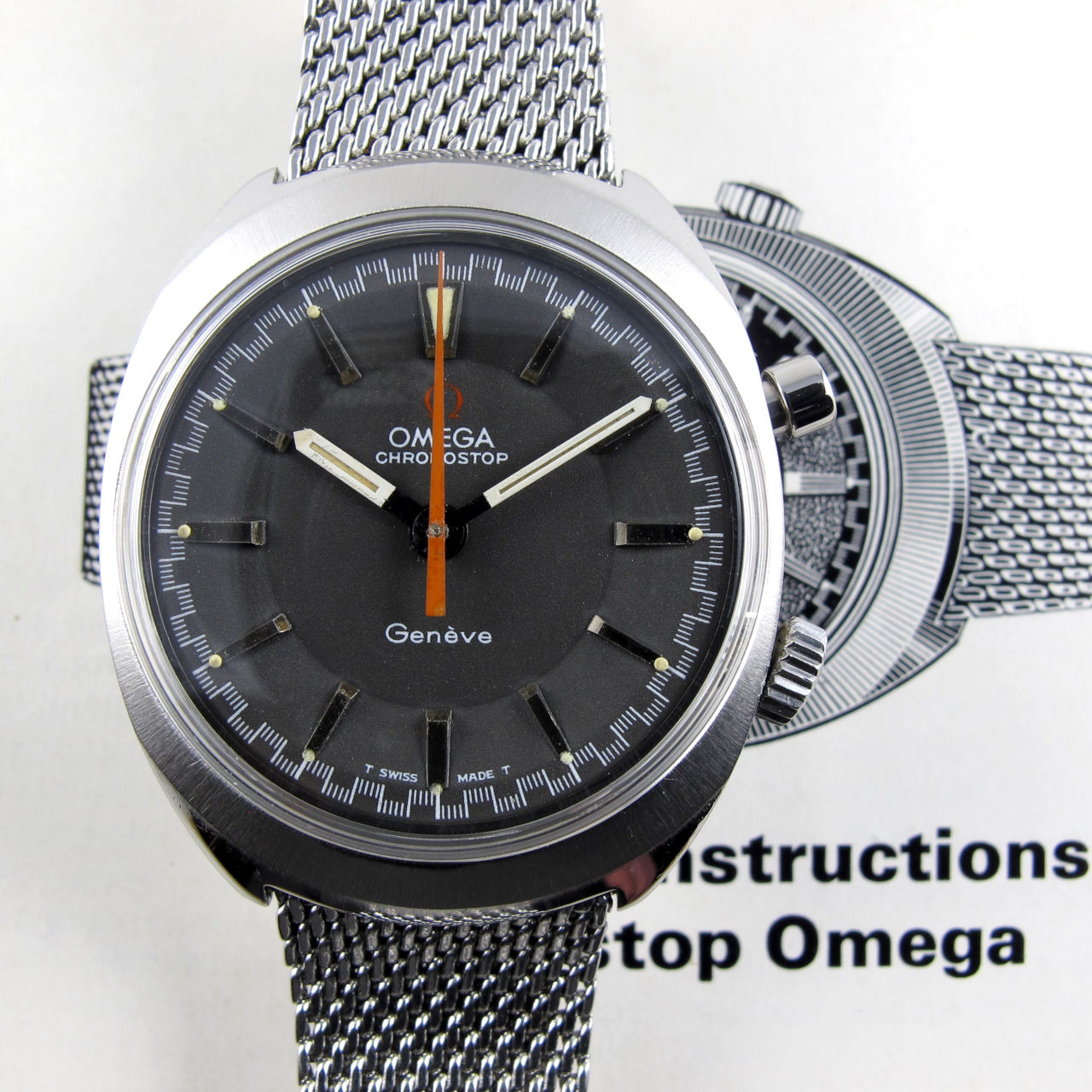 Omega Chronostop Ref. 145.009 steel vintage wristwatch, sold in 1969