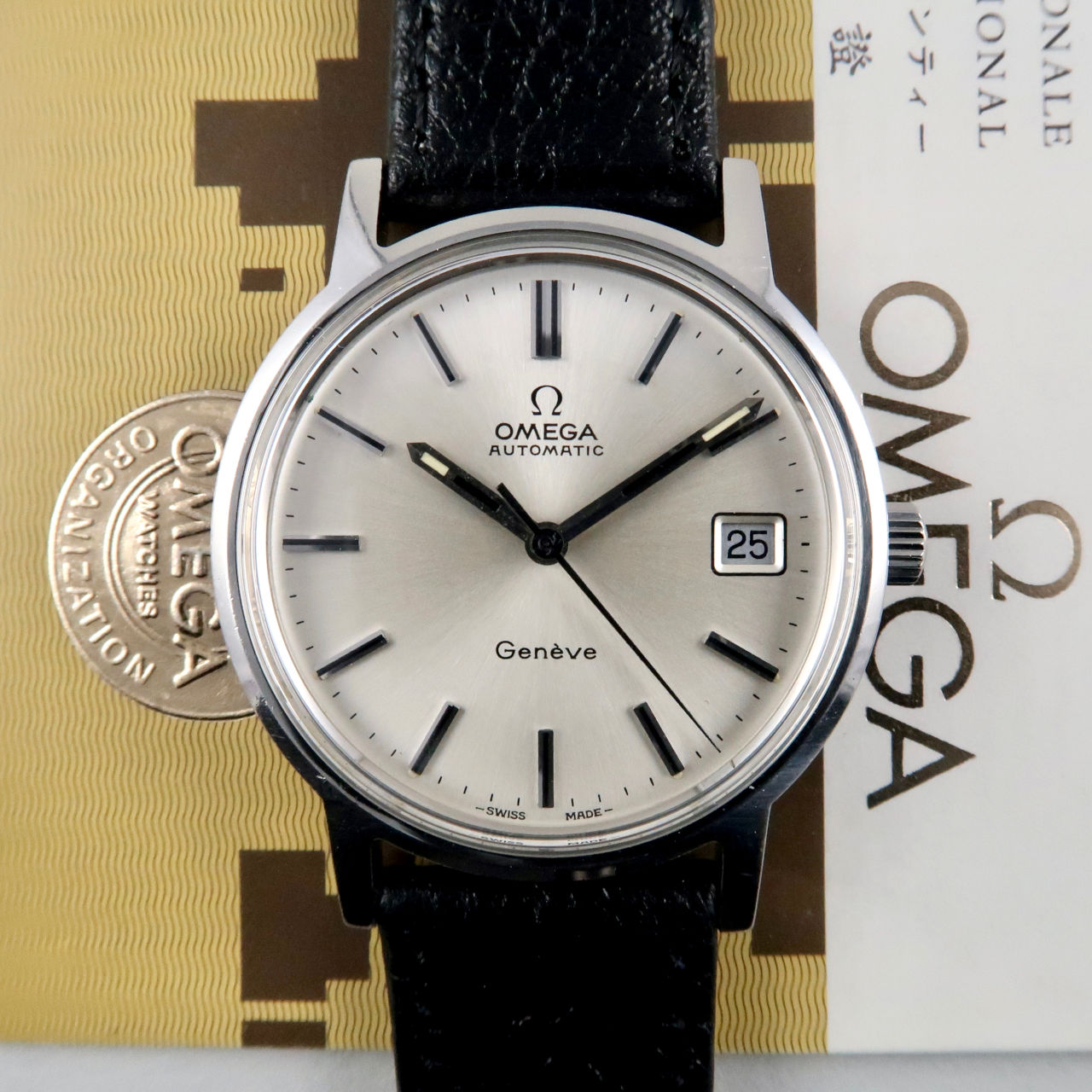 Omega Genève Ref. 166.0163 steel vintage wristwatch, sold in 1976