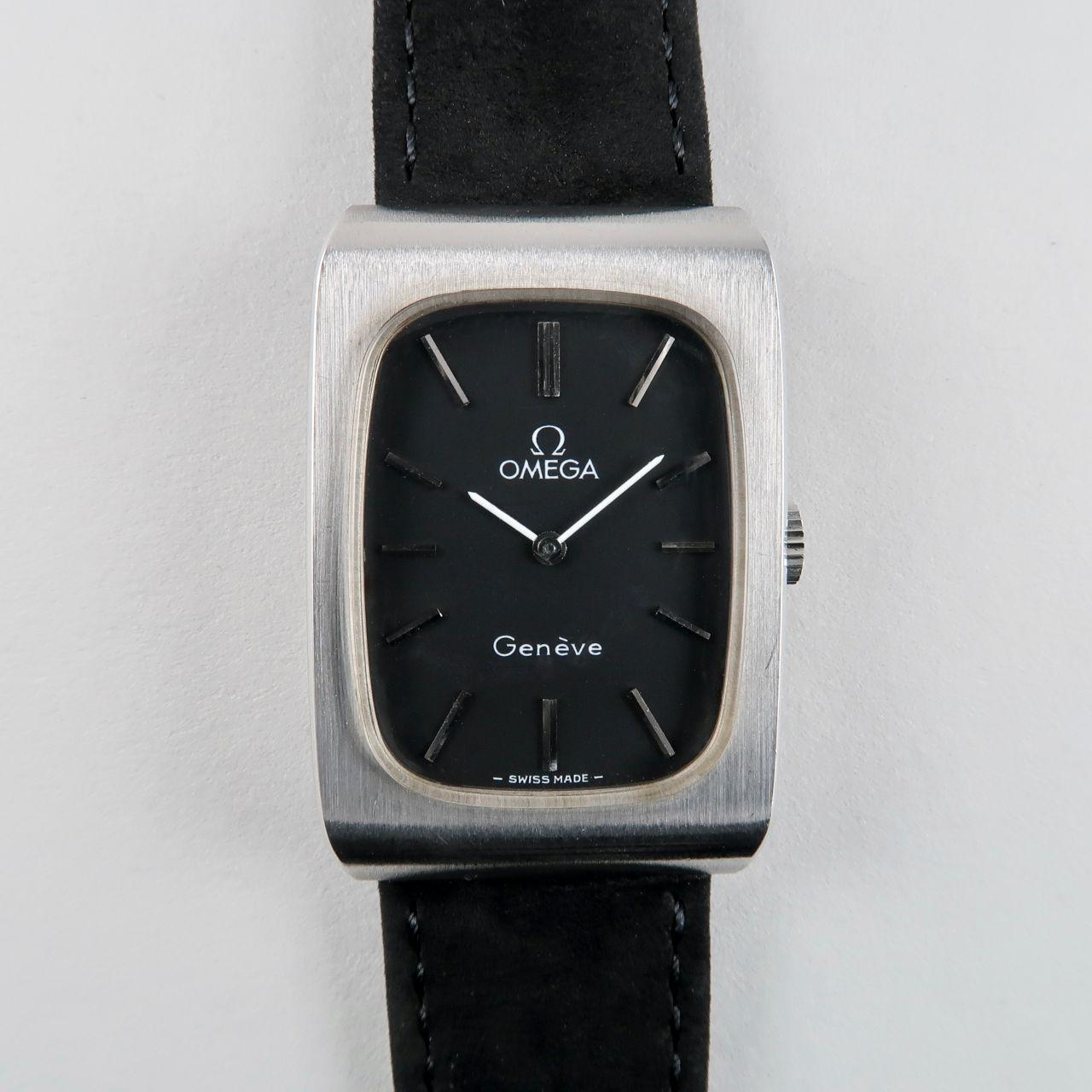 Omega Genève Ref. 511.0469 circa 1973   steel rectangular hand wound vintage wristwatch