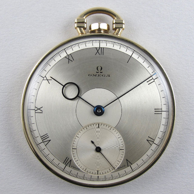 Omega gold vintage pocket watch, hallmarked 1938