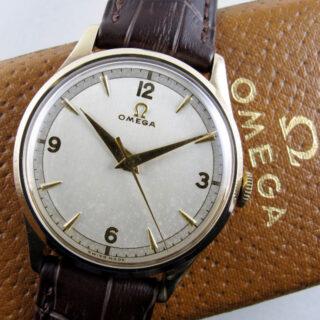 Omega gold vintage wristwatch, hallmarked 1951