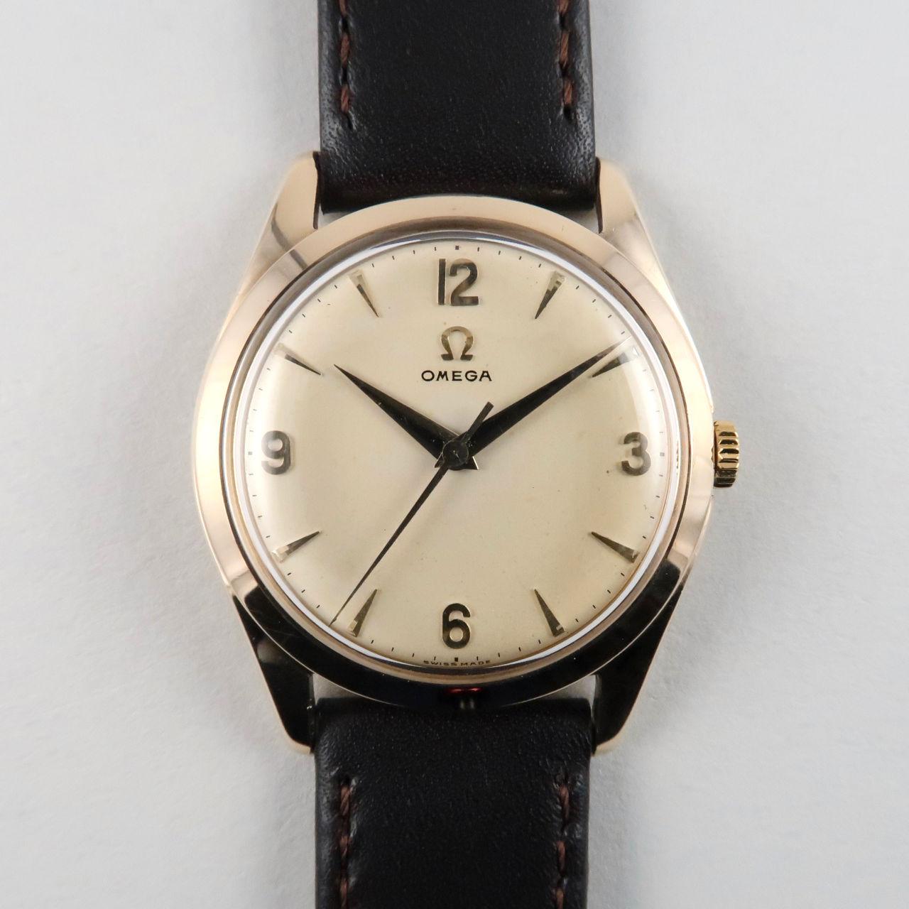 Omega Ref.921 gold vintage wristwatch, hallmarked 1959