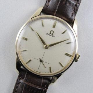 Omega Ref. 923 gold vintage wristwatch, hallmarked 1958