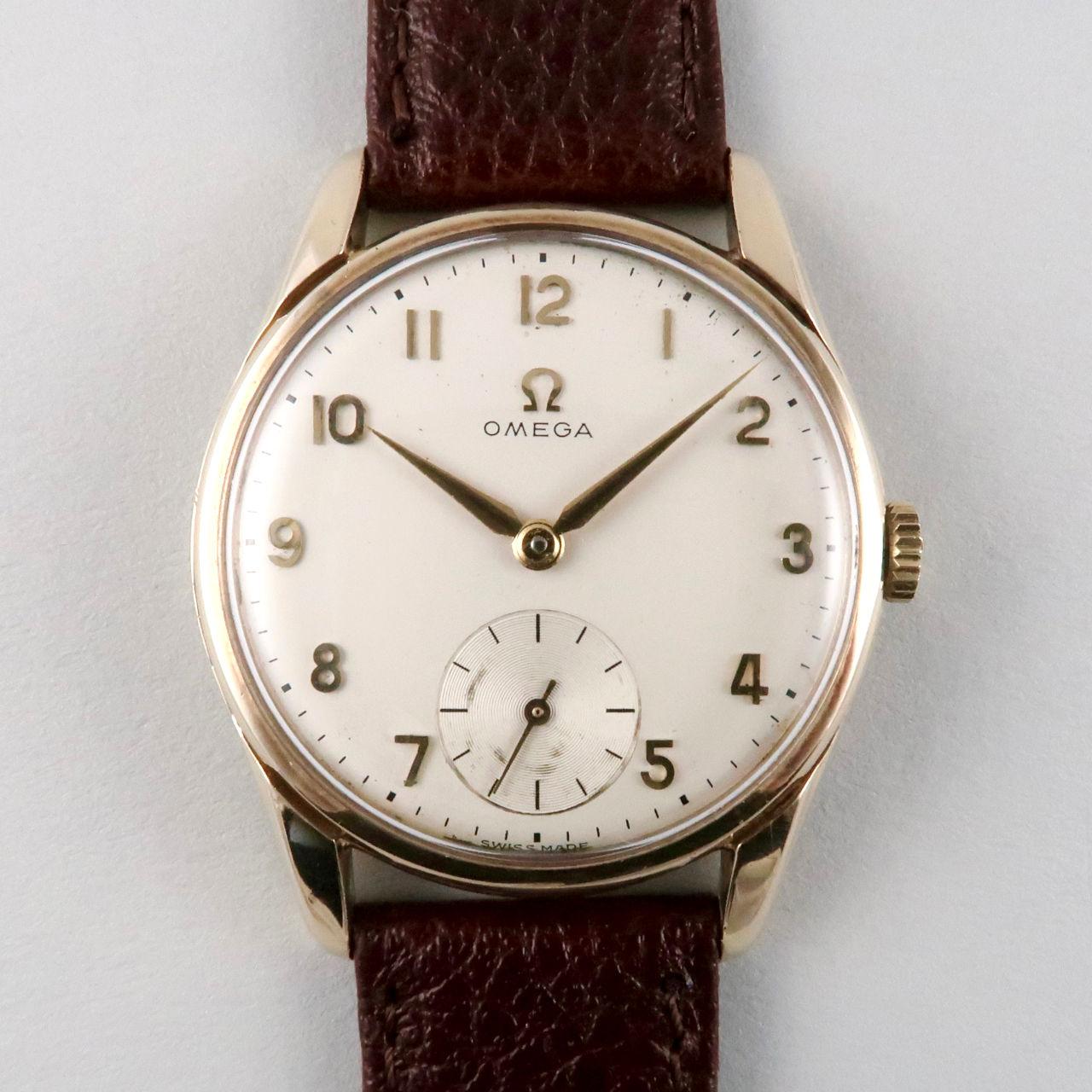 Omega Ref. 923 gold vintage wristwatch, hallmarked 1961