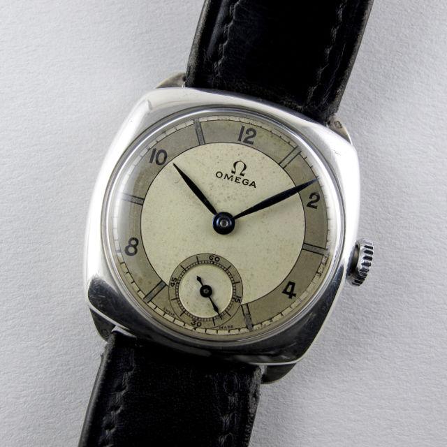 Omega silver vintage wristwatch, hallmarked 1936