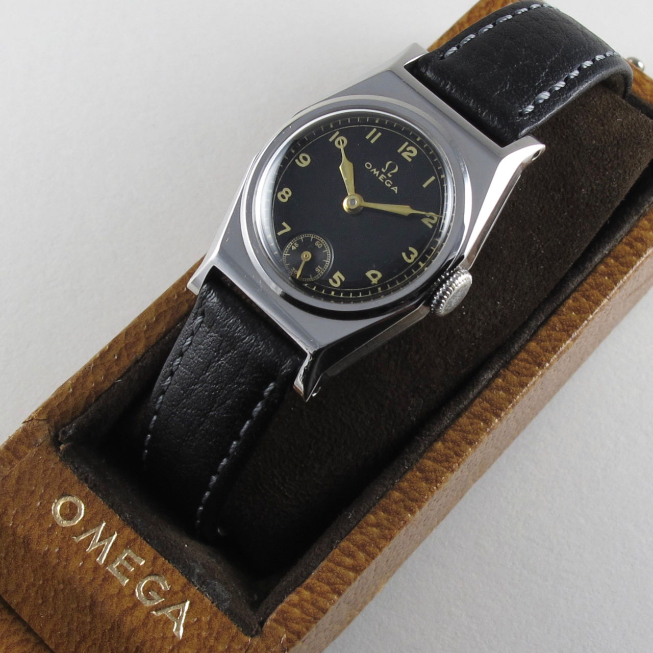 Omega steel vintage wristwatch, circa 1935