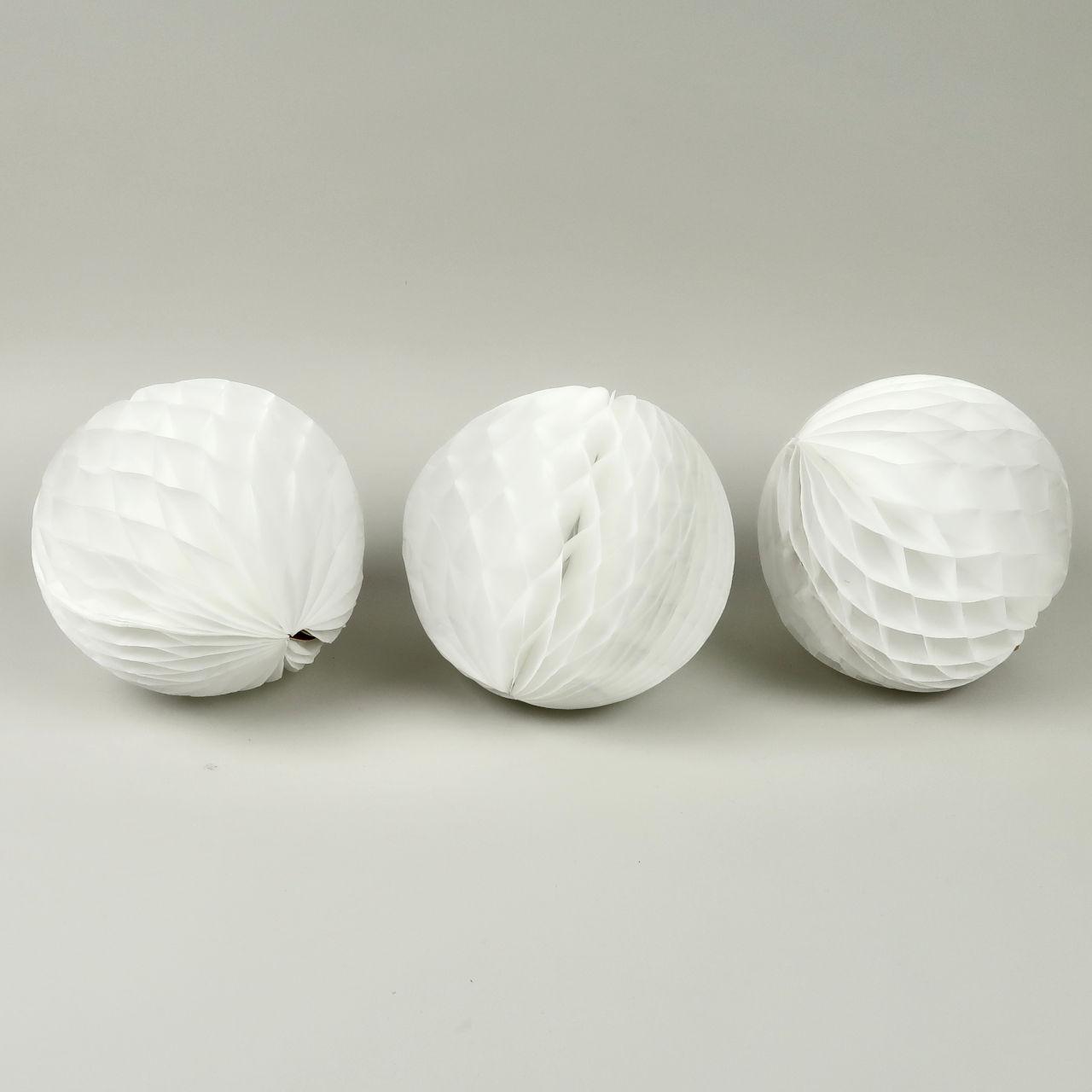 Honeycomb Paper Ball - 15cm Diameter - Pack of 3 - White