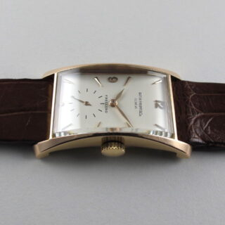Pink Gold Patek Philippe Ref. 1593 'Hour Glass' retailed by Freccero vintage wristwatch, made in 1947 and sold in 1948