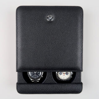 Rapport black leather sliding watch case for two watches