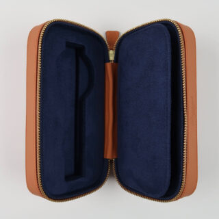 Rapport Hyde Park tan leather zipped watch case for two watches