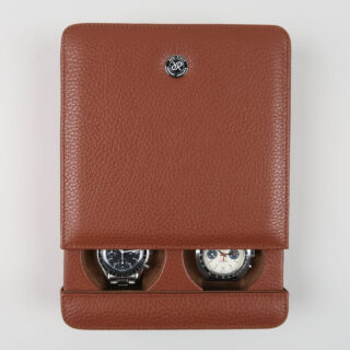 Rapport tan leather sliding watch case for two watches
