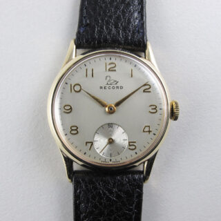 Record 9ct gold vintage wristwatch, hallmarked 1953