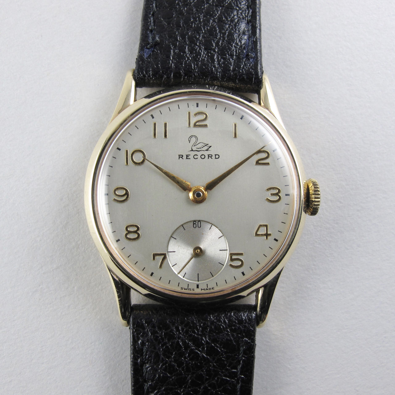 Record 9ct gold vintage wristwatch, hallmarked 1953