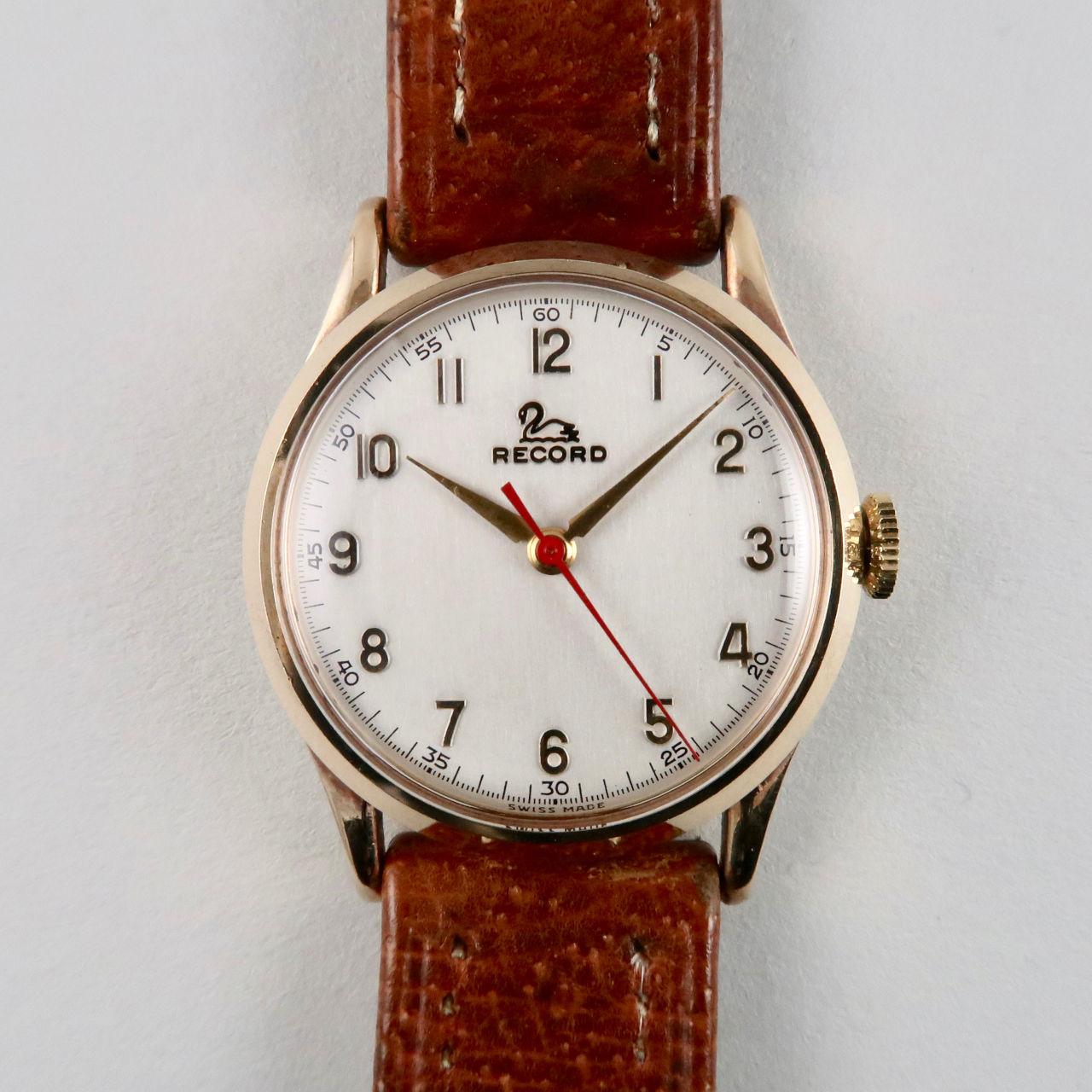 Record 9ct gold vintage wristwatch, hallmarked 1954