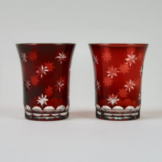 Pair of Vintage Red Cut Glass Night Light Holders