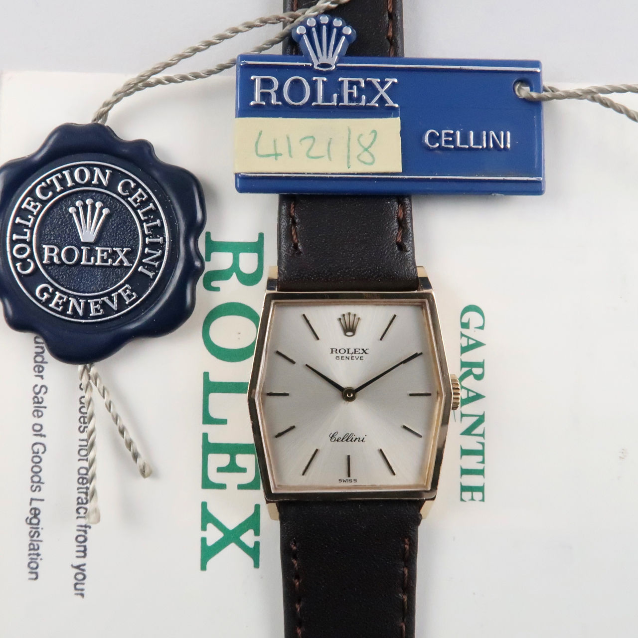 Rolex Cellini Ref. 4121 Full Set 18ct gold vintage wristwatch, sold in 1992