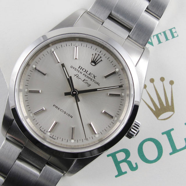 "Rolex Oyster Perpetual Air-King Precision Ref. 14000M ""Full Set"" steel wristwatch, sold in 2002"